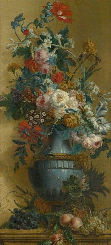 Willem van Leen - Flowers in a Blue Vase