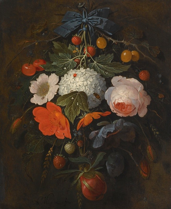 Abraham Mignon - A Festoon Of Flowers And Fruit, Including A Pink Rose, A Poppy, A Snowball, Gooseberries And Fraises De Bois, Along With A Variety Of Insects