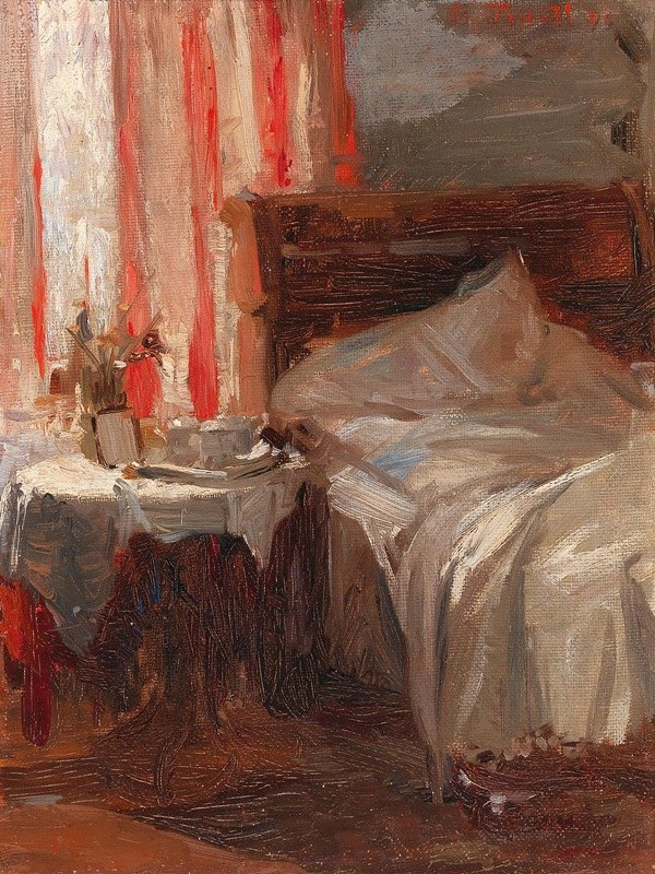 Broncia Koller-Pinell - A bedroom interior