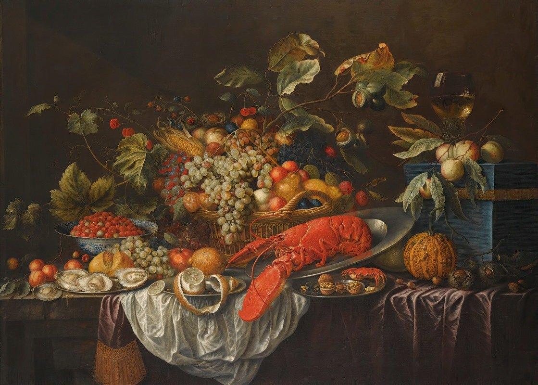Cornelis de Bryer - A Still Life Of Assorted Fruits In A Basket, A Roemer And Apples Atop A Blue Jewellery Casket