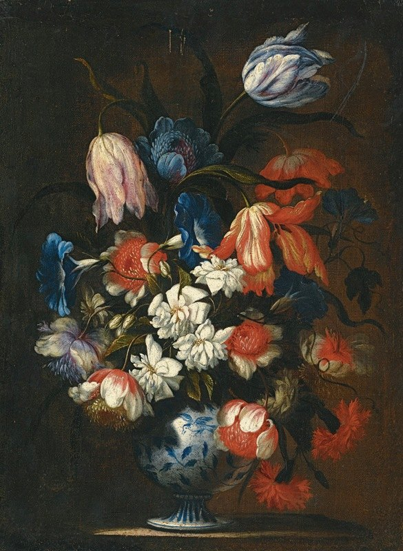 Francesco Caldei - A Still Life With Tulips, Carnations And Other Flowers In A Blue And White Porcelain Vase