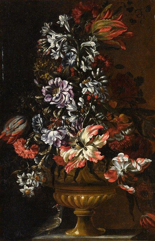 Francesco Caldei - Still Life With Vase Of Flowers