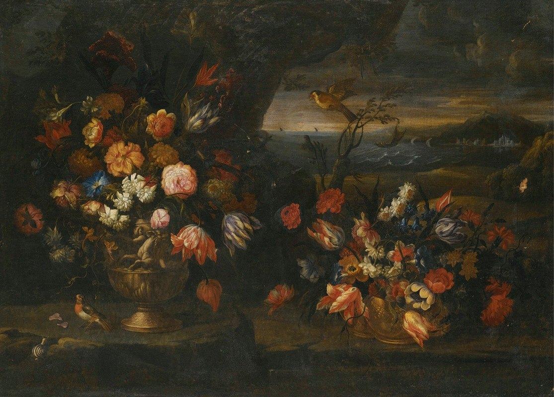 Francesco Caldei - Still Life With Vase Of Flowers In A Coastal Landscape Setting