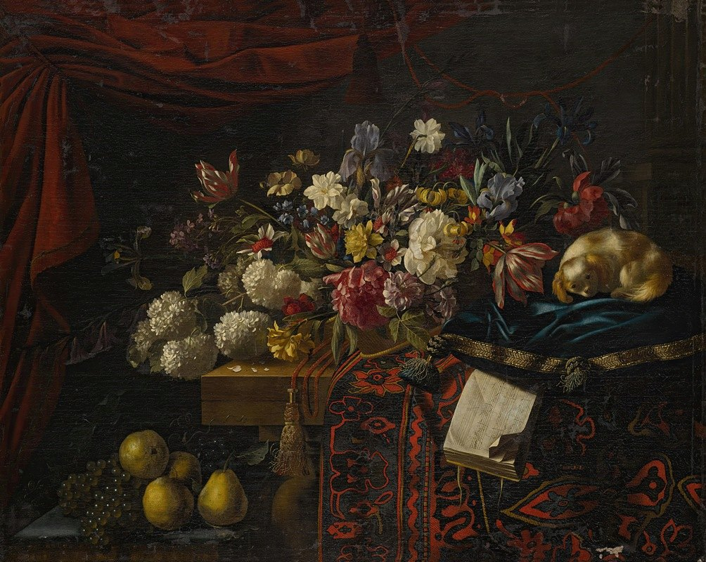 François Habert - A still life of flowers set on a table witha carpet, a music book and a dog seated on a pillow