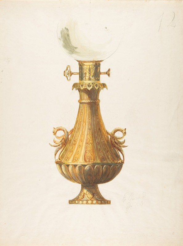 Guérard - Design for a Gas Lamp with Gilt Base and Glass Globe