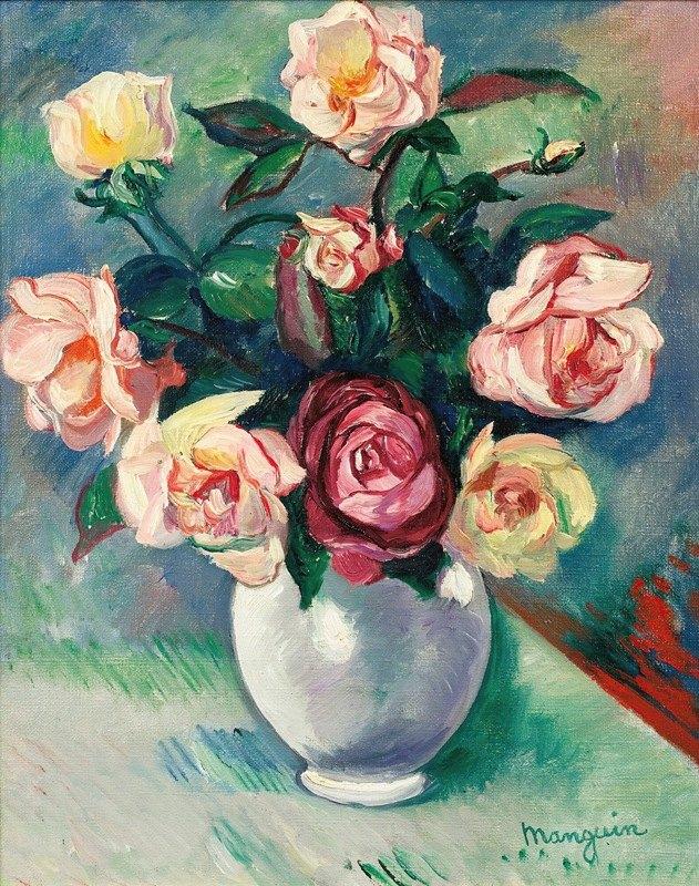 Henri Manguin - Bouquet De Roses Dans Un Vase Blanc