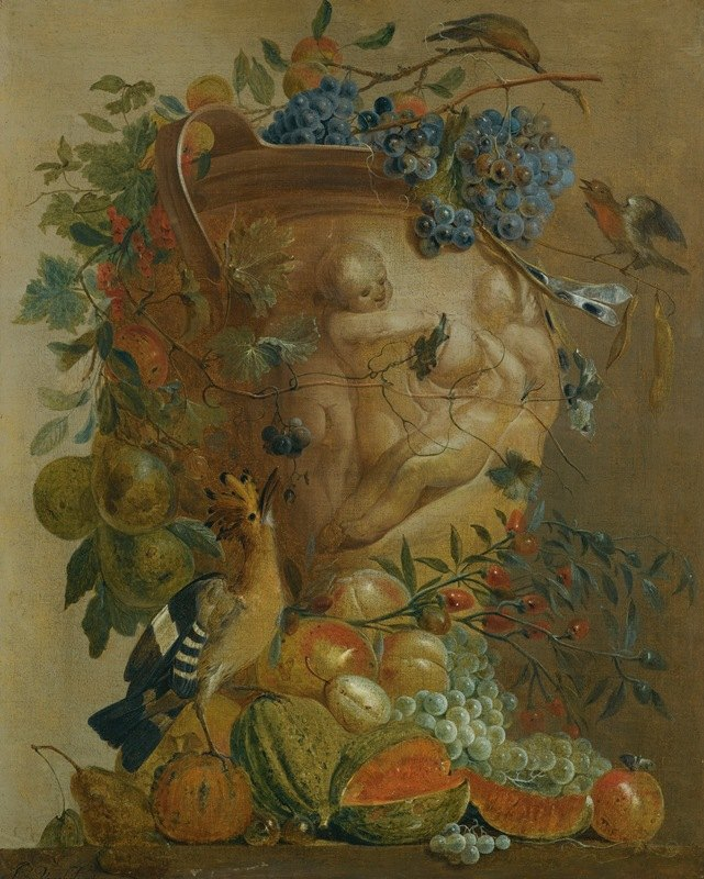 Jacobus Vonck - A Still Life Of Melons, Grapes, Peaches And Other Fruits In A Stone Urn With Birds