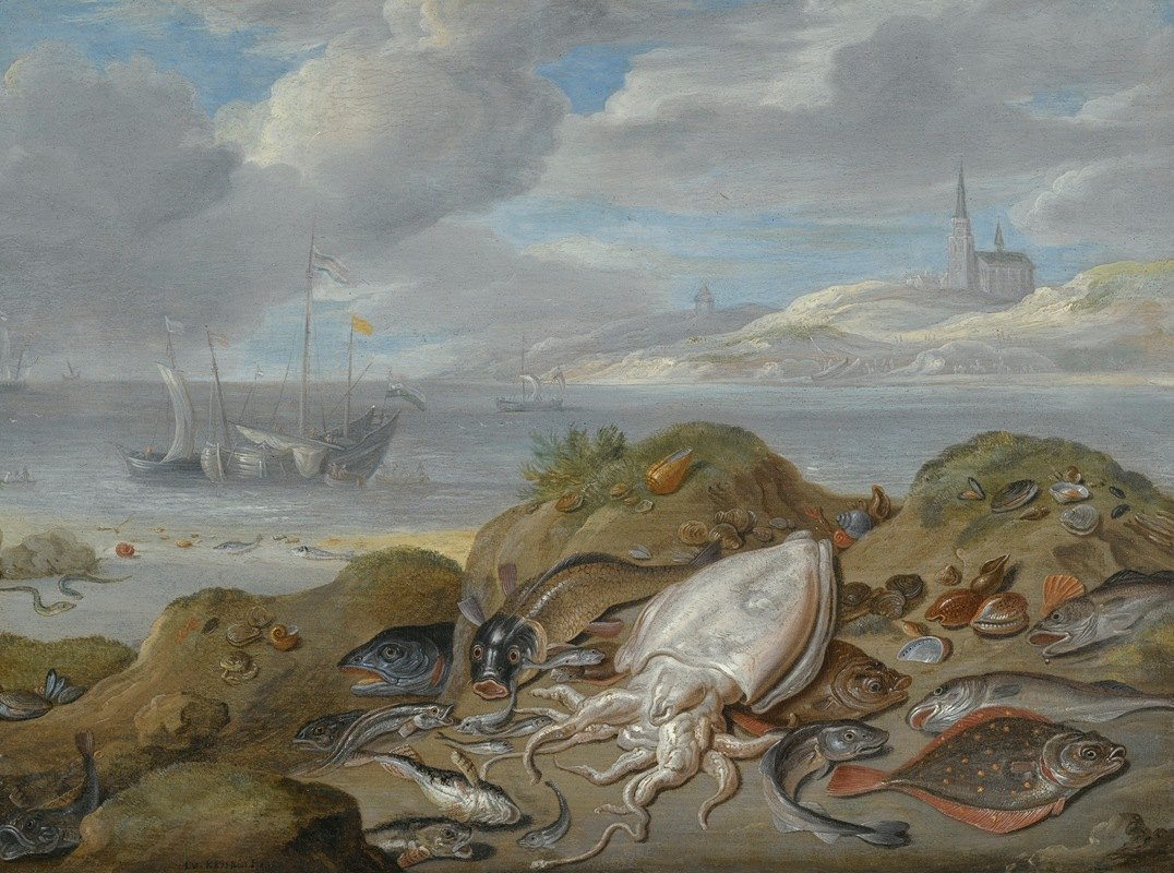 Jan Van Kessel The Elder - Still Life With Cuttle Fish, Plaice, Cod, Mussels And Other Fish On A Dune, A Church Across A River Estuary Beyond