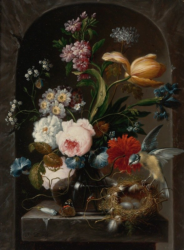 Johann Baptist Drechsler - Still Life Of Roses, Morning Glories, Primroses, A Tulip And Other Flowers In A Glass Vase, With A Bird And Bird's Nest