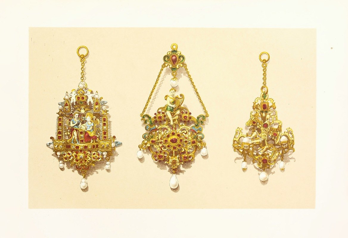 John Charles Robinson - Pendant Jewels in Gold, Enamelled, and Set with Precious Stones