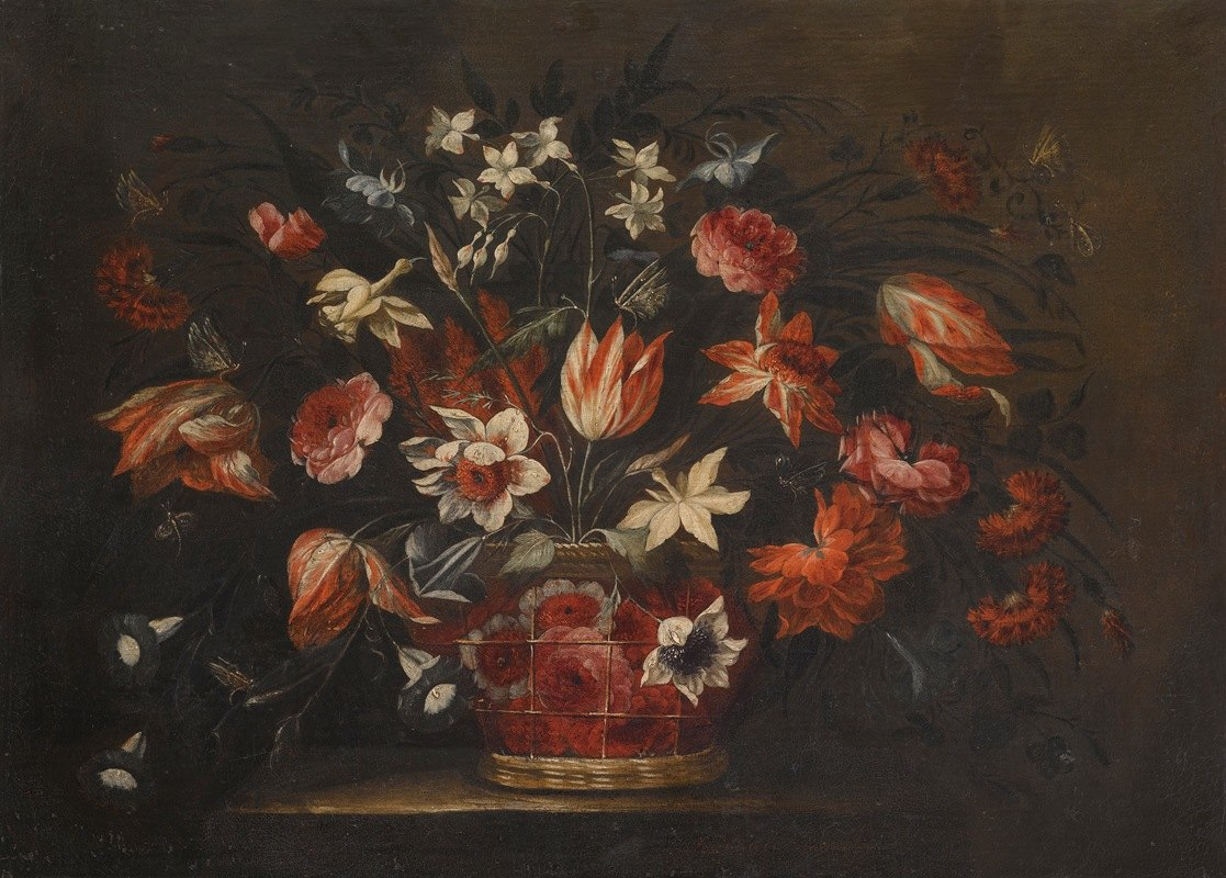 José de Arellano - A Still Life With A Basket Of Tulips, Carnations And Other Flowers On A Stone Plinth