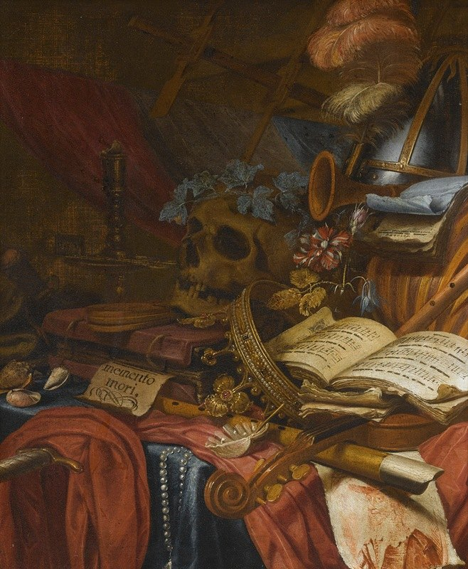 Vincent Laurensz. van der Vinne I - A Vanitas Still Life With A Flute, A Skull, Music Sheets, A Gold Crown, A Dagger, Shells And Other Objects, All Arranged On A Partly Draped Table