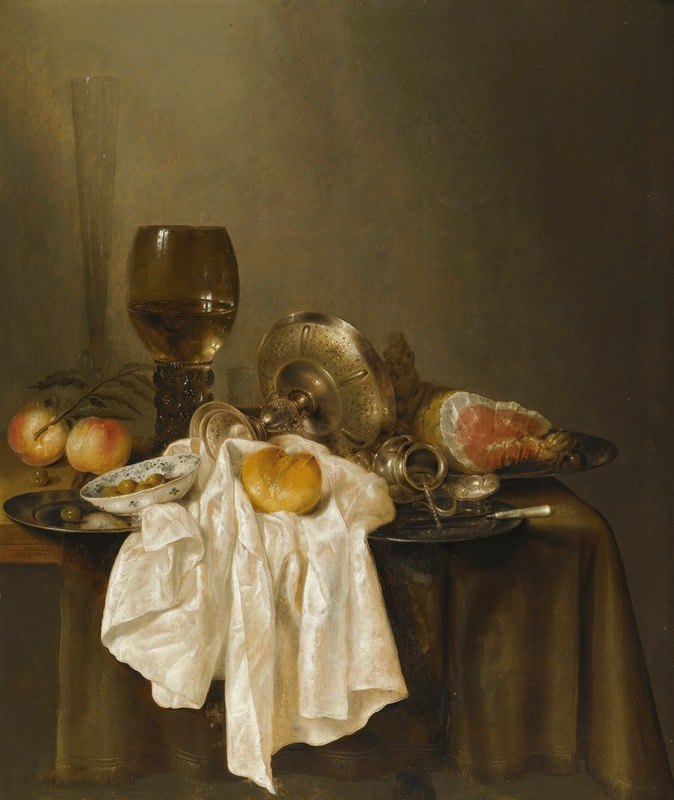 Willem Claesz Heda - A Banketje Still Life With A Roemer, A Silver Tazza On Its Side, A Ham, Peaches, A Salt Cellar, A Bread Roll And A White Cloth On A Partly Draped Table