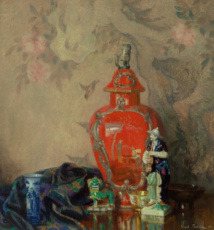 Emil Carlsen - Still Life with Red Urn and Asian Figurines