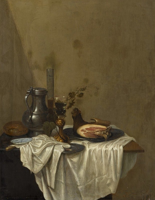 Gerrit van Vucht - Still life with a pewter jug, roemers and a leg of ham, together on a table draped with a white tablecloth