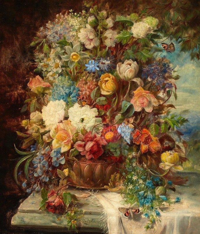 Hans Zatzka - Summer Flowers on a Ledge