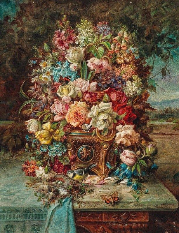 Hans Zatzka - Reiches Blumenstillleben mit Blaumeise vor einer weiten Landschaft