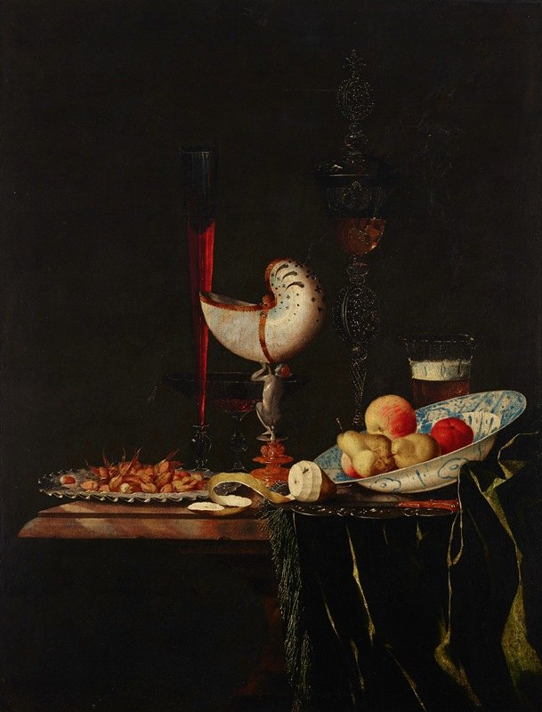 Johann Georg Hinz - A nautilus cup, a flute, a façon-de-Venise and a wine and beer glass with nuts on a silver charger