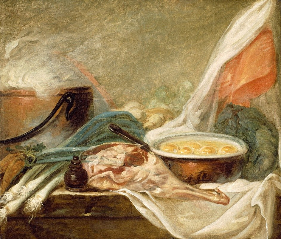French School - Still Life with Eggs and a Leg of Mutton