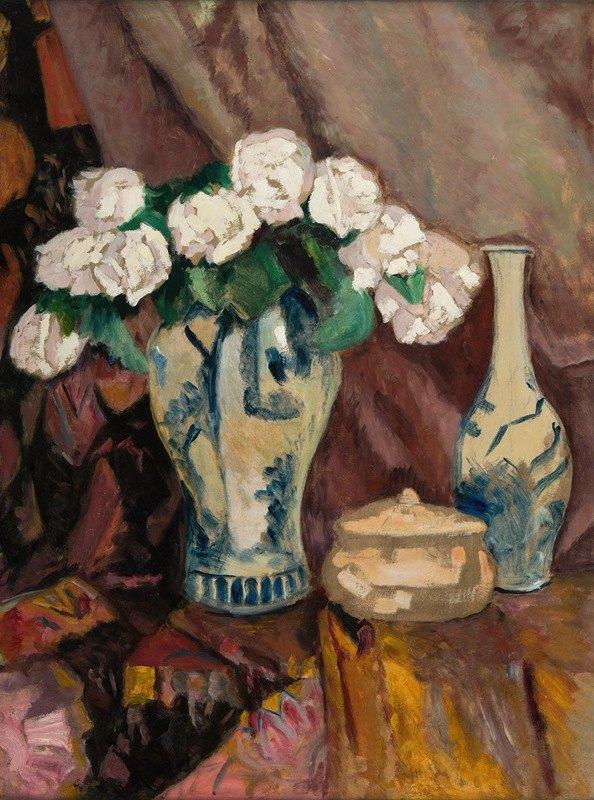 Stefan Filipkiewicz - Still Life with White Roses in a Vase