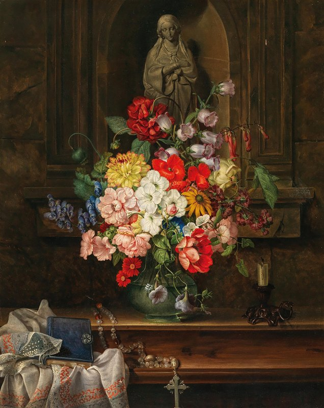 Leopold Brunner the Elder - Madonna in a Niche with a Sumptuous Bouquet of Flowers
