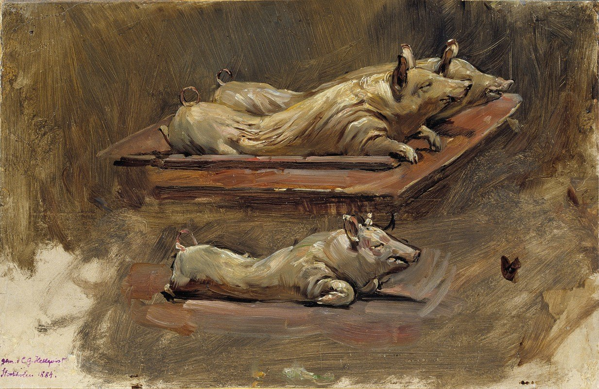 Carl Gustaf Hellqvist - Pigs. Study for During Fasting Time
