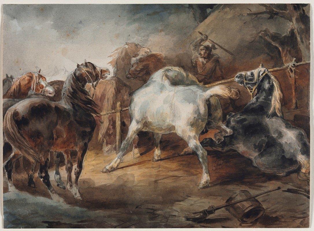 Théodore Géricault - Fighting Horses