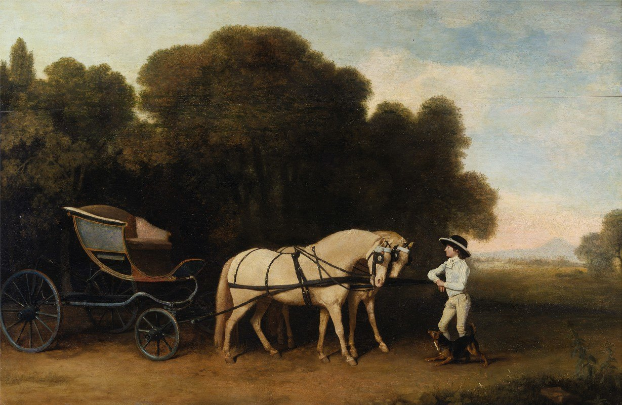 George Stubbs - Phaeton with a pair of cream ponies and a stable-lad