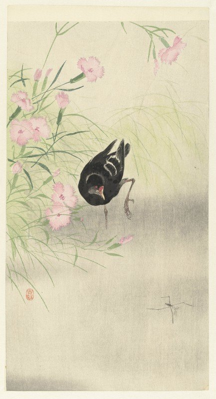 Ohara Koson - Moorhen at flowering plant