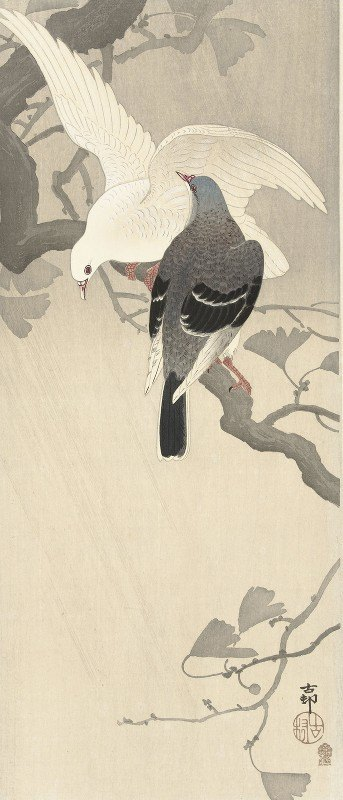 Ohara Koson - Two pigeons on a branch