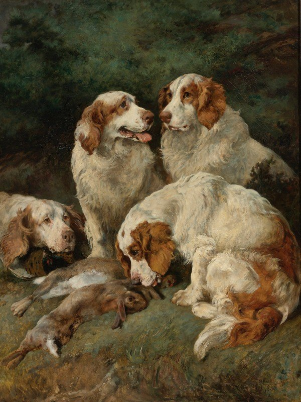 John Emms - Clumber Spaniels With Theday's Bag