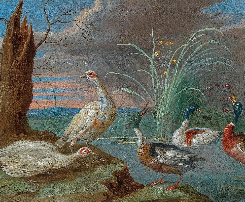 Jan Van Kessel The Elder - Ducks and other birds near a pond
