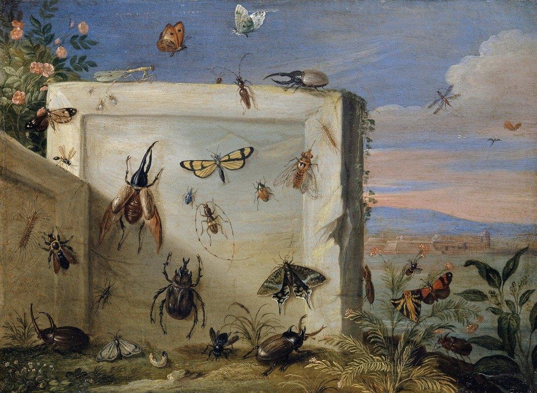 Jan Van Kessel The Elder - Insects on a Stone Slab