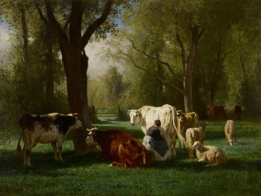 Constant Troyon - Landscape With Cattle And Sheep