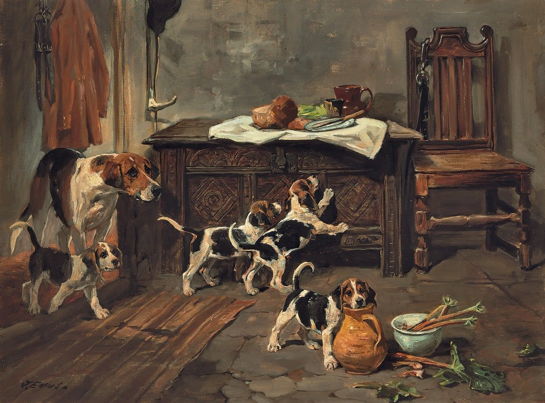 John Emms - Hounds And Puppies In An Interior