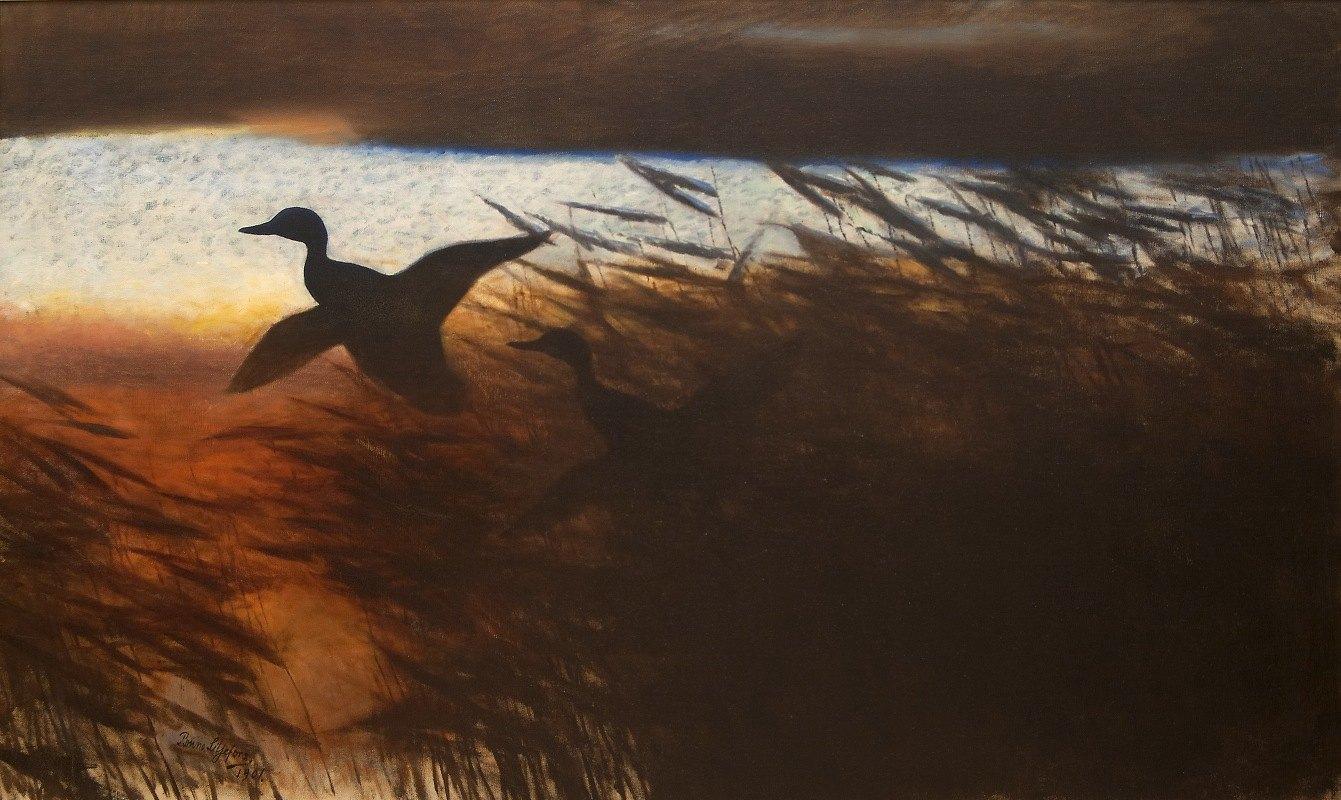 Bruno Liljefors - Summer Night Ducks Lifting off