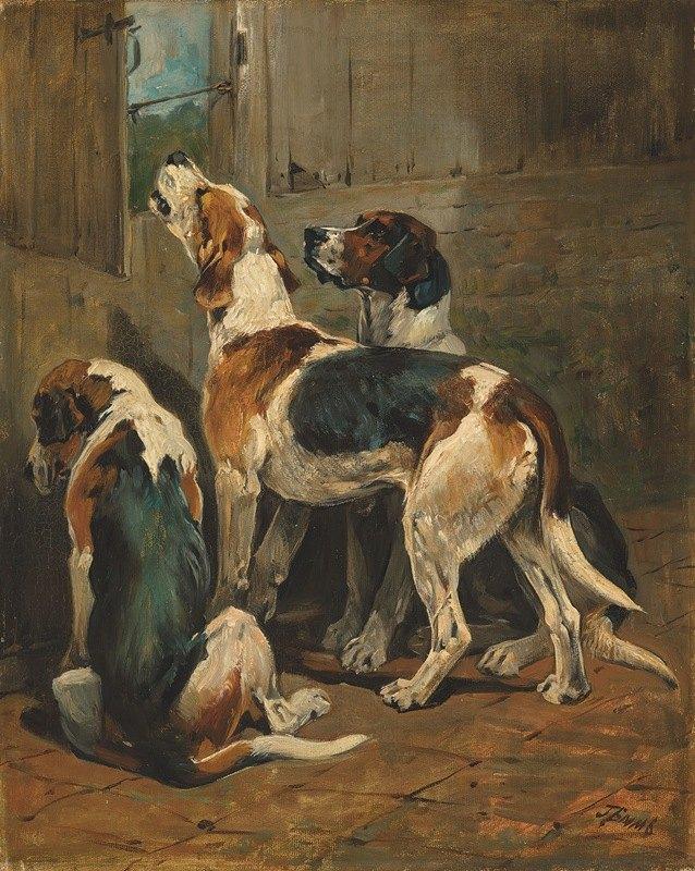John Emms - Foxhounds at a kennel door