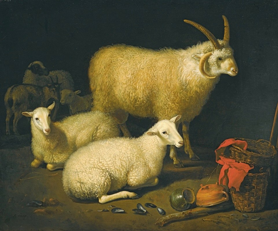 Aelbert Cuyp - A barninterior witha four-horned ram and four ewes, and a goat, with a still life of a basket and upturned pots to the right