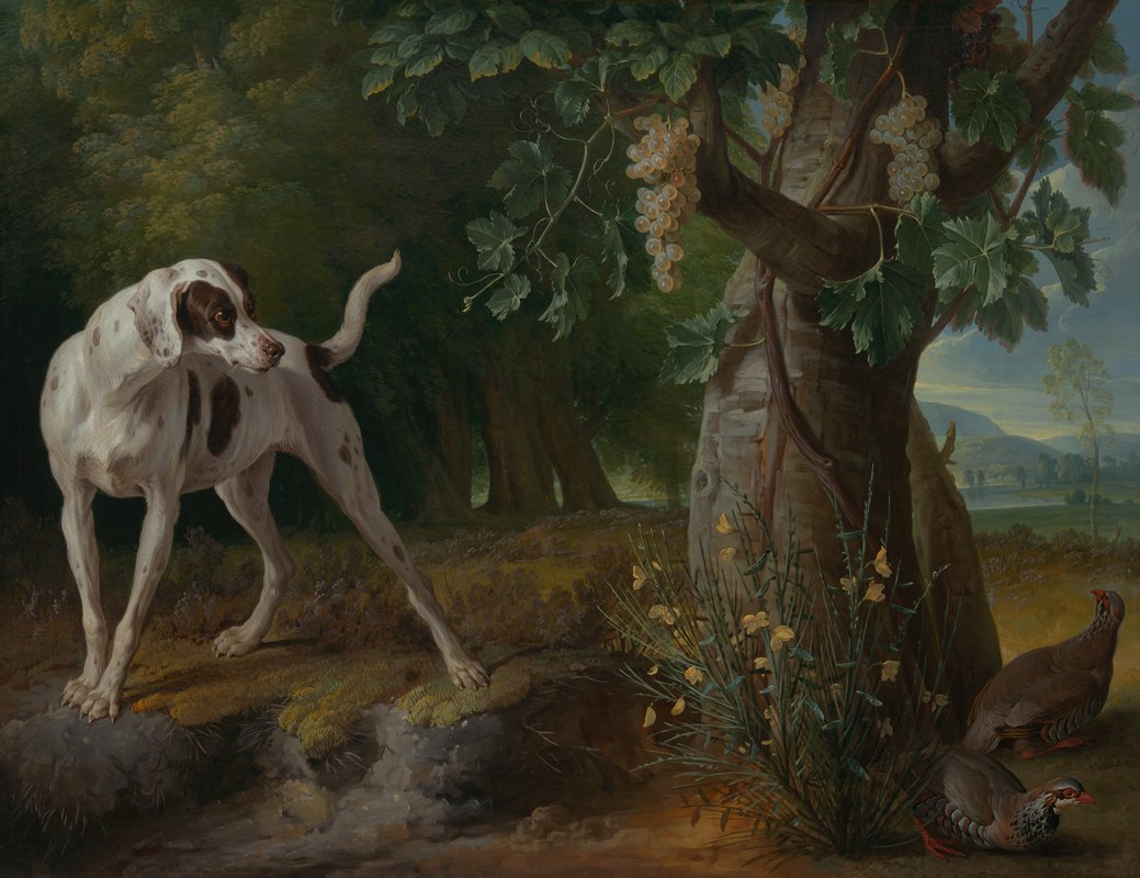 Alexandre François Desportes - Dog Pointing Partrideges in a Landscape