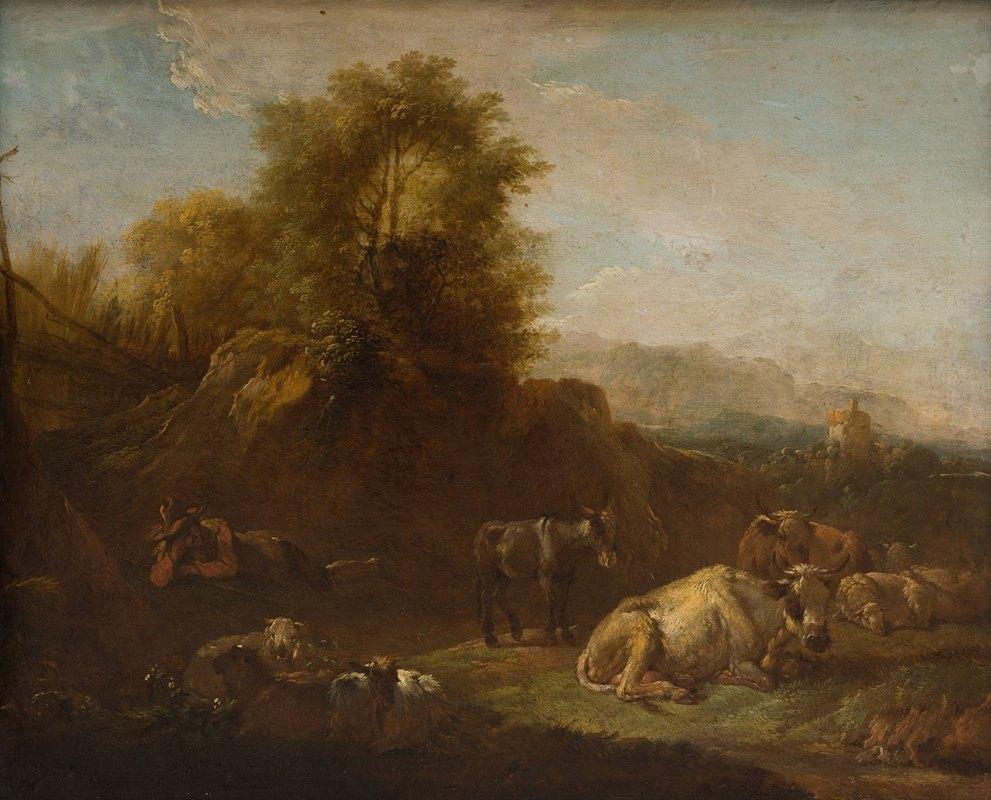 Nicolaes Pietersz. Berchem - Landscape with Animals and a Shepherd