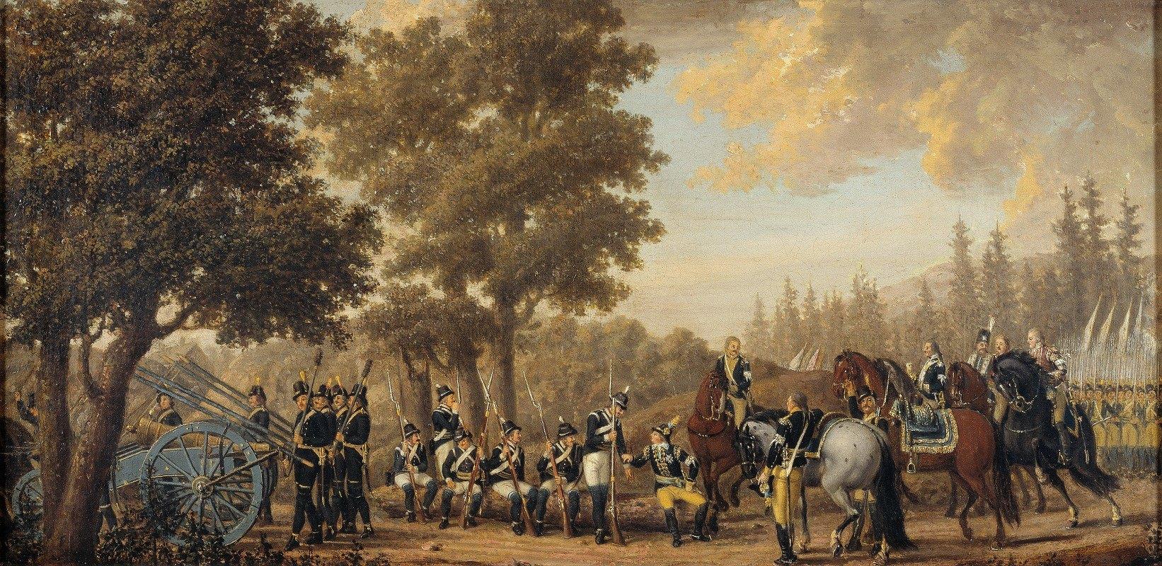 Pehr Hilleström - King Gustav III of Sweden & a Soldier.Episode from the Russian War 1789