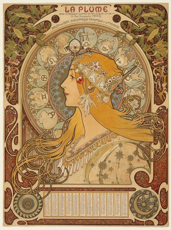 Alphonse Mucha - Zodiaque (La Plume)