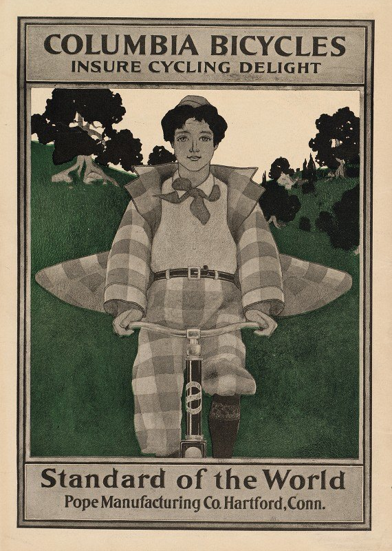 Maxfield Parrish - Columbia bicycles insure cycling delight