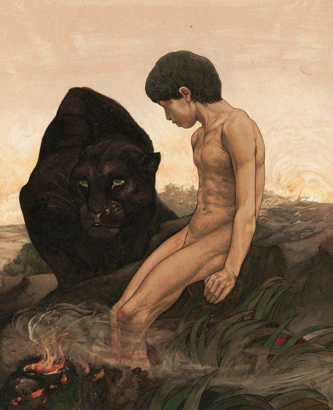 Maurice And Edward Detmold - Mowgli And Bagheera