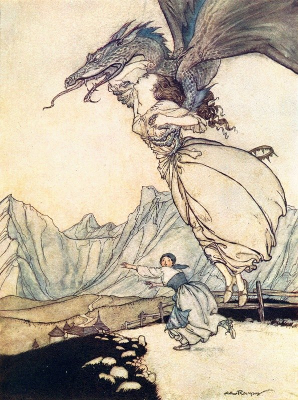 Arthur Rackham - The dragon flew out and caught the queen on the road and carried her away