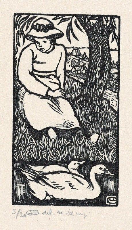 Lucien Pissarro - Meisje en twee eenden