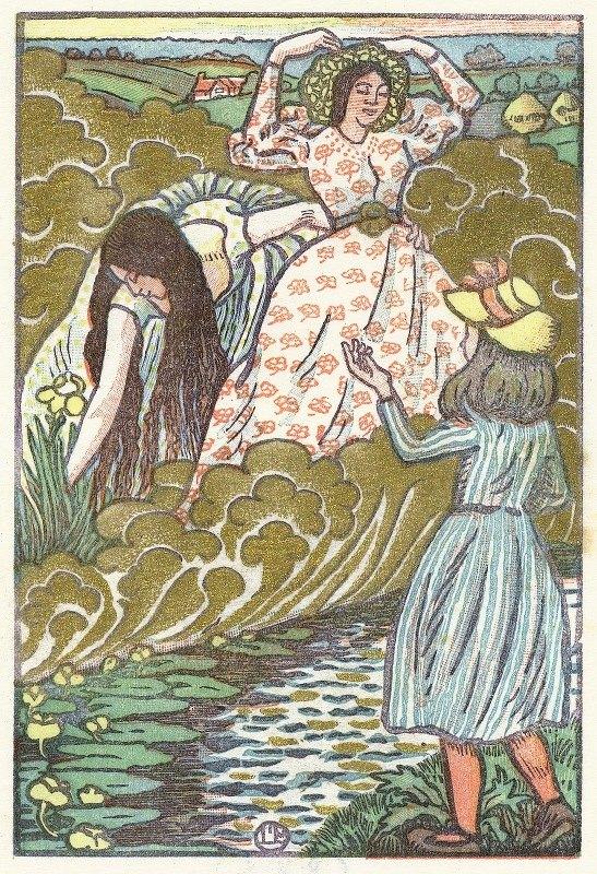 Lucien Pissarro - Een meisje en twee vrouwen bij een beek