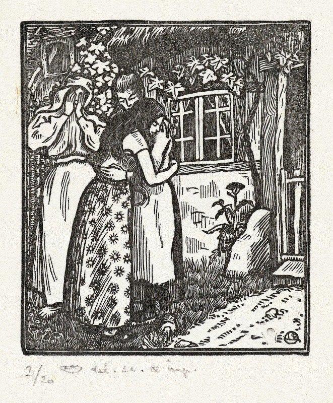 Lucien Pissarro - Ruth en Naomi omhelzen elkaar