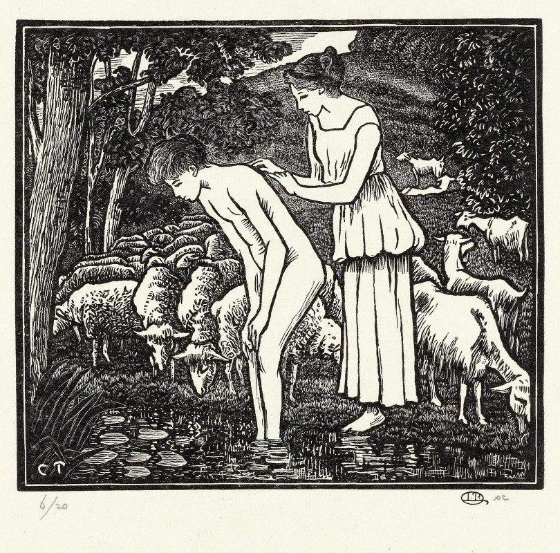Lucien Pissarro - Daphnis wordt gewassen door Cloë