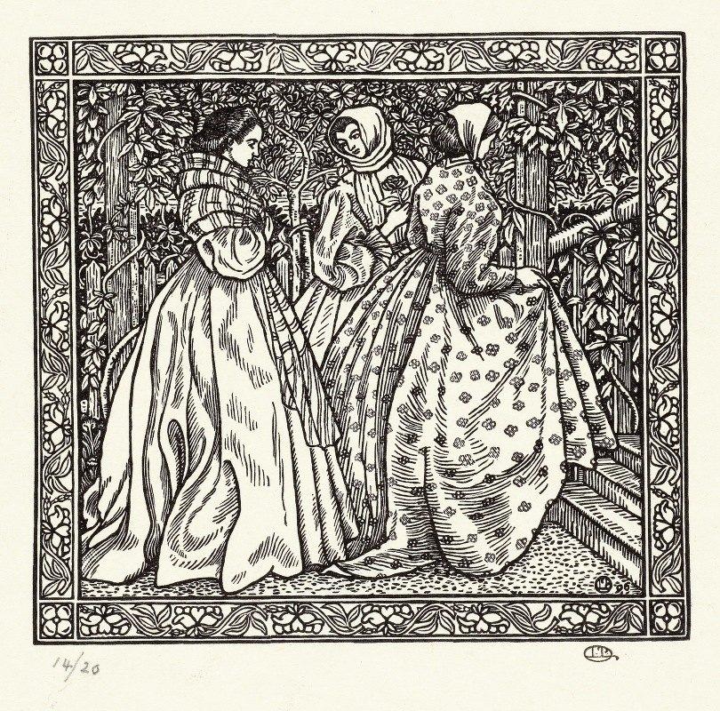 Lucien Pissarro - Drie vrouwen in een tuin
